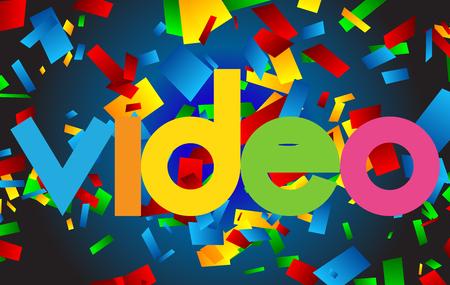Video colorful vector letter banner Illustration