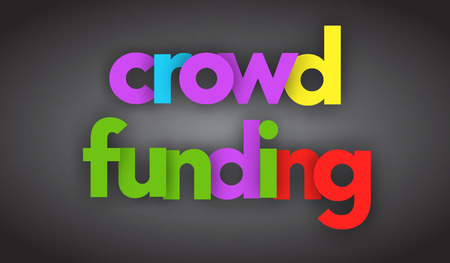 crowd funding colorful letters vector banner Illustration