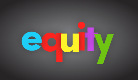 Equity letters vector word banner sign