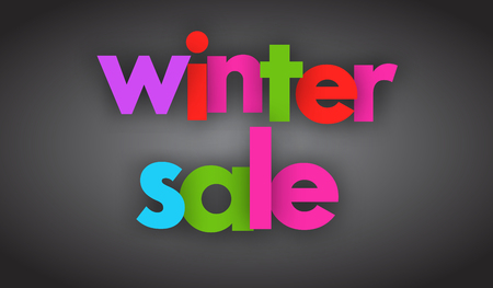 Winter sale letters vector word banner sign