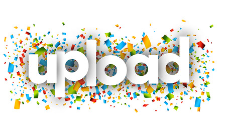 Upload letters vector word banner sign
