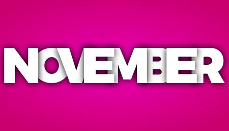 event planner: november letters vector word banner sign Illustration
