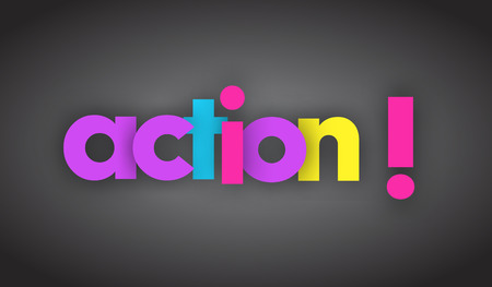 Action letters vector word banner sign