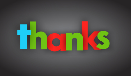 Thanks letters vector word banner sign