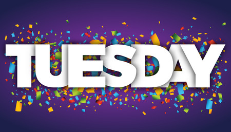 Tuesday letters vector word banner sign
