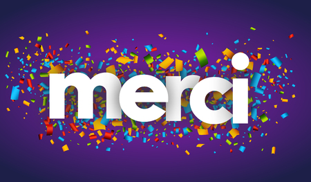thanks merci letters vector word banner sign