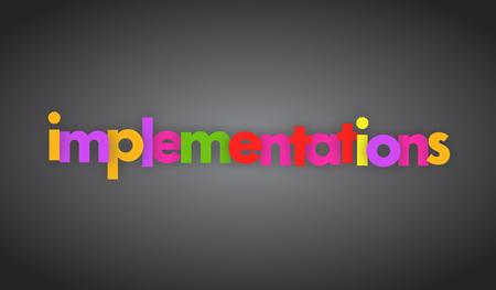 Implementatie letters vector banner teken