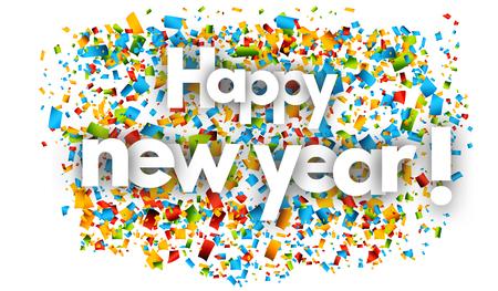 happy new year letters vector word banner sign Illusztráció