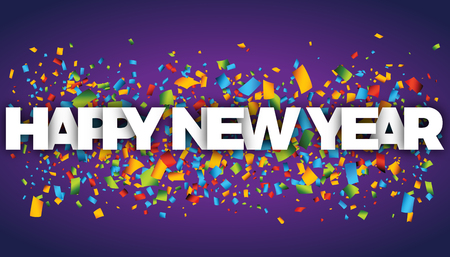 happy new year letters vector word banner sign Illustration