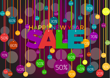Happy new year Vector discounts cover with text Illustration