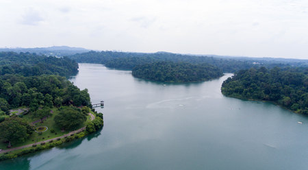 A lovely aerial view of a reservoir in Singapore
