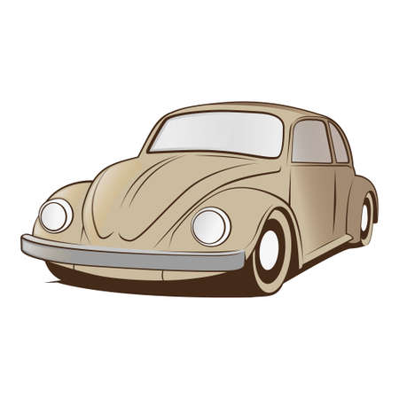 vw beetle vector with editable color with one click layer Vector