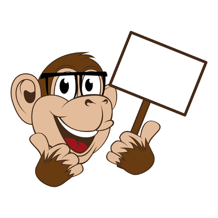 tumb: monkey with announcement board, with tumb up pose