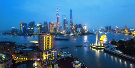 shanghai city night scape Editorial