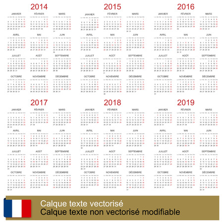 French calendar 2014-2019 Vector