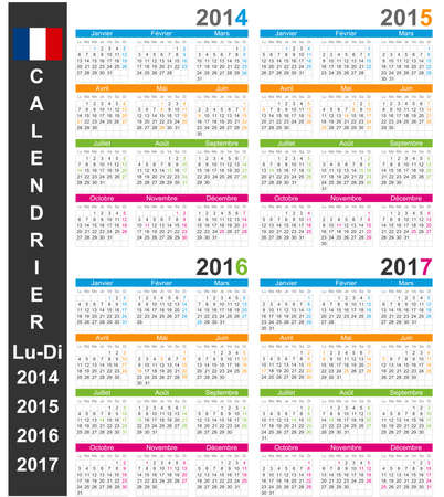 French calendar 2014-2017 Vector