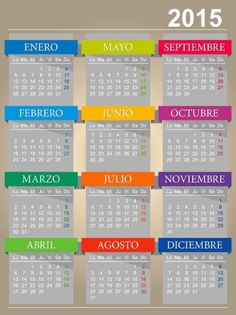 Calendar of 2015 Vector