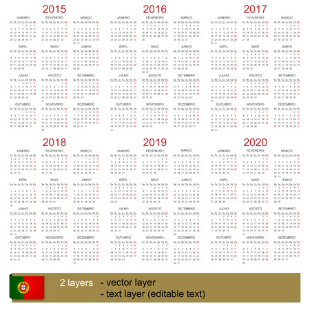 Portuguese calendar for years 2015-2020, week starts on Monday Vector