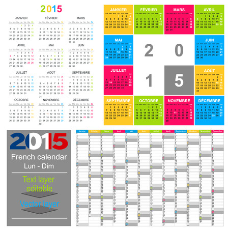 French calendar for year 2015, week starts on Monday Vector