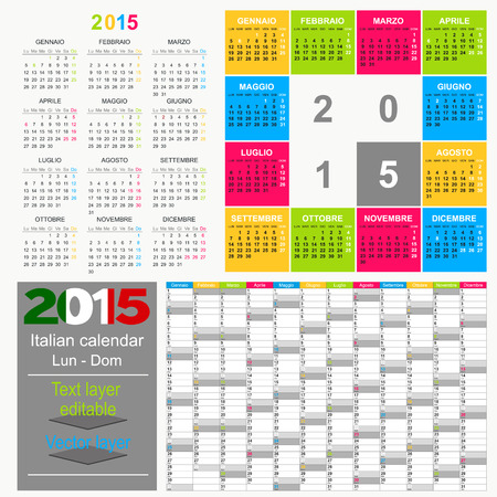 Italian calendar for year 2015, week starts on Monday Vector