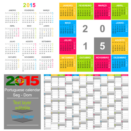 Portuguese calendar for year 2015, week starts on Monday Vector