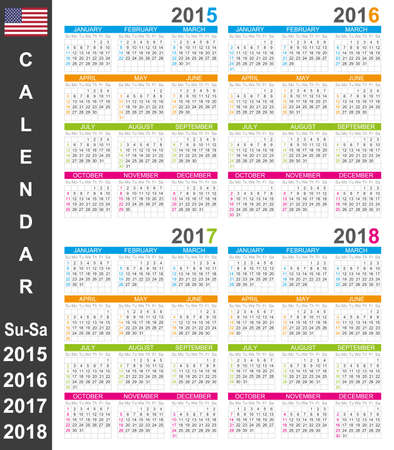 English calendar for years 2015-2018, week starts on Sunday Vector