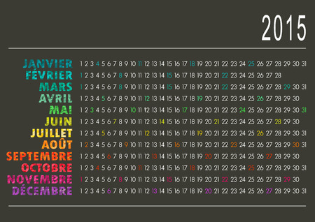 French calendar for year 2015, vector illustration Vector