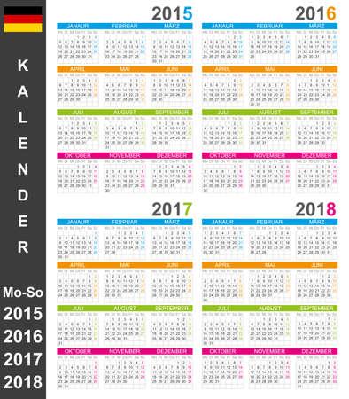 German calendar for years 2015-2018, week starts on Monday Vector
