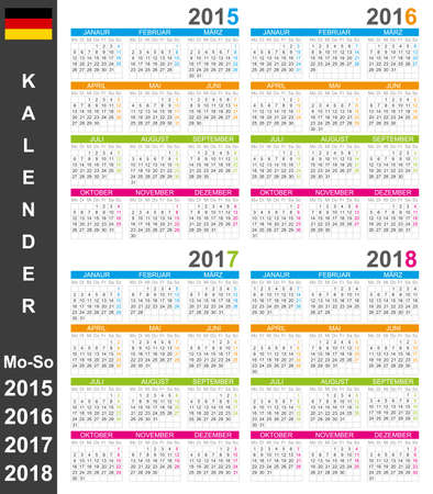 German calendar for years 2015-2018, week starts on Monday Vector