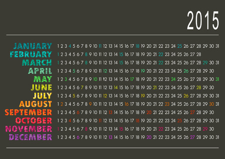 English calendar for year 2015, vector illustration Vector