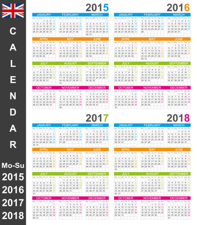 English calendar 2015-2018, week starts on Monday Vector