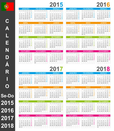 Portuguese calendar for years 2015-2018, week starts on Monday Vector