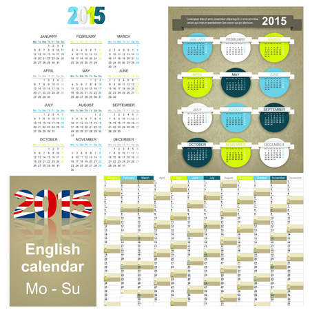 English calendar for year 2015, week starts on Monday Vector