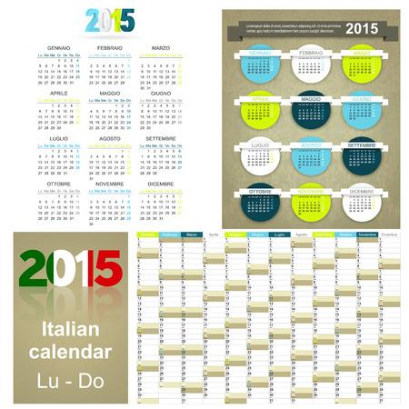 Italian calendar for year 2015, week starts on Monday Vector