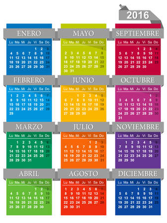 desk calendar: Spanish for calendar year 2016 Week starts on Monday