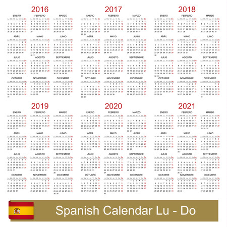 Spanish calendar for years 2016-2021 week starts on Monday