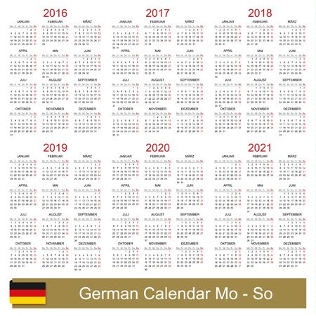 German calendar for years 2016-2021 week starts on Monday