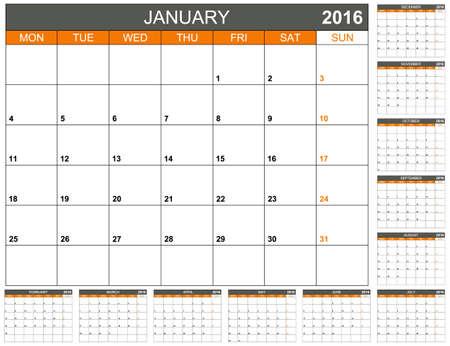 calendario diciembre: Calendario de planificaci�n Ingl�s 2016, la semana comienza el lunes Vectores