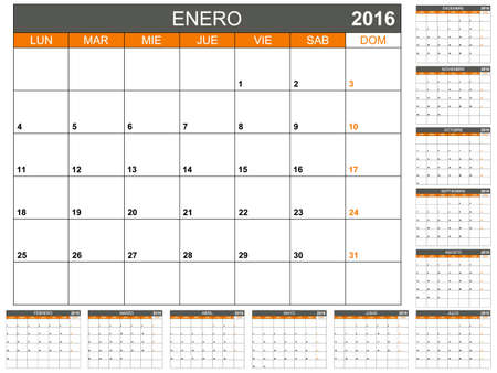 planning calendar: Spanish planning calendar 2016