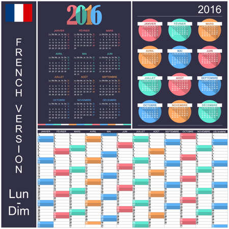 organiser: French calendar for year 2016, week starts on Monday