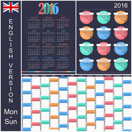 agenda: Collection of English calendars for year 2016, week starts on Monday,vector illustration