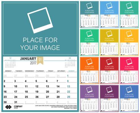 table calendar: English planning calendar 2017, week starts on Monday, illustration