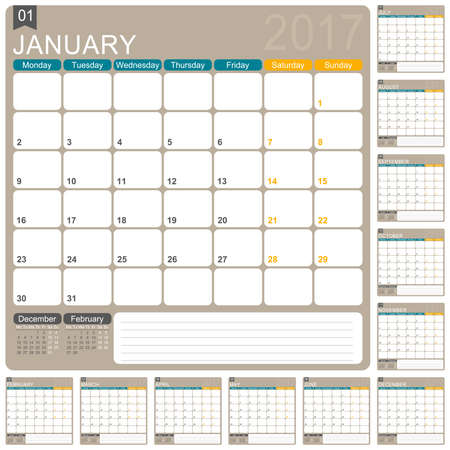 English planning calendar 2017, week starts on Monday, illustration