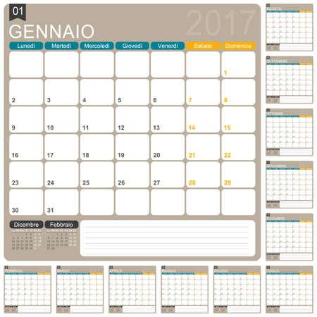 planning calendar: Italian planning calendar 2017, week starts on Monday, illustration Illustration