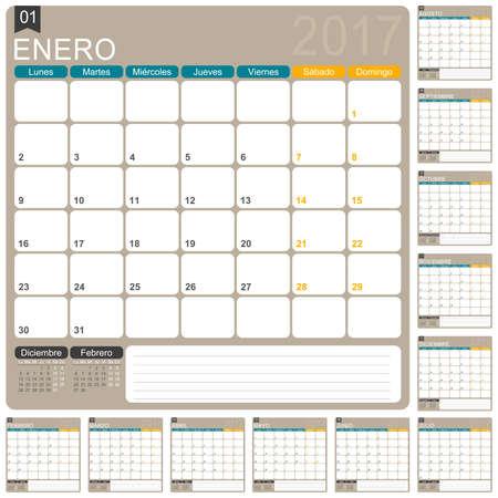 table calendar: Spanish planning calendar 2017, week starts on Monday, illustration Illustration