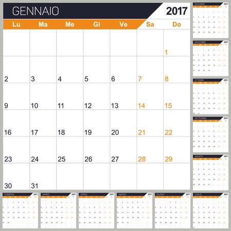 Italian planning calendar 2017, week starts on Monday, vector illustration