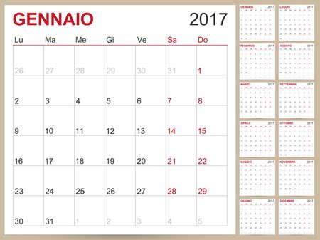 table calendar: Italian planning calendar 2017, week starts on Monday, vector illustration