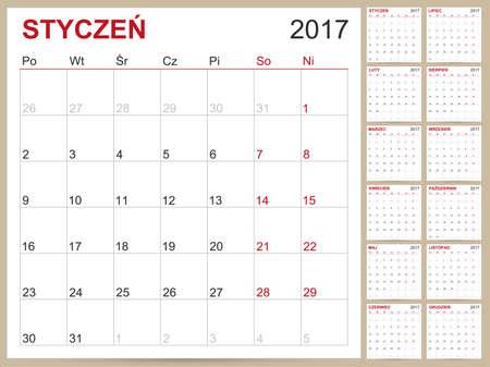 planning calendar: Polish planning calendar 2017, week starts on Monday, vector illustration