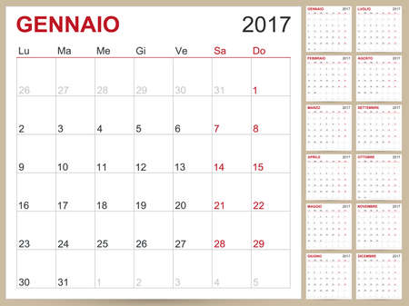 planning calendar: Italian planning calendar 2017, week starts on Monday, vector illustration
