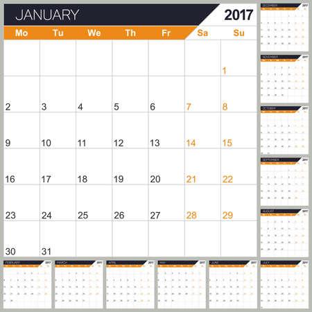 table calendar: English planning calendar 2017, week starts on Monday, vector illustration Illustration